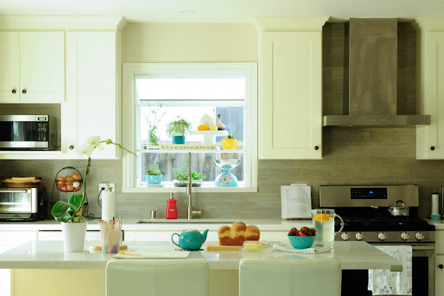 small open white kitchen