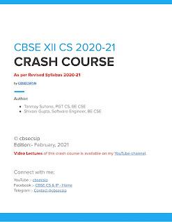 XII CS CRASH COURSE eBook (PDF) 2020-21