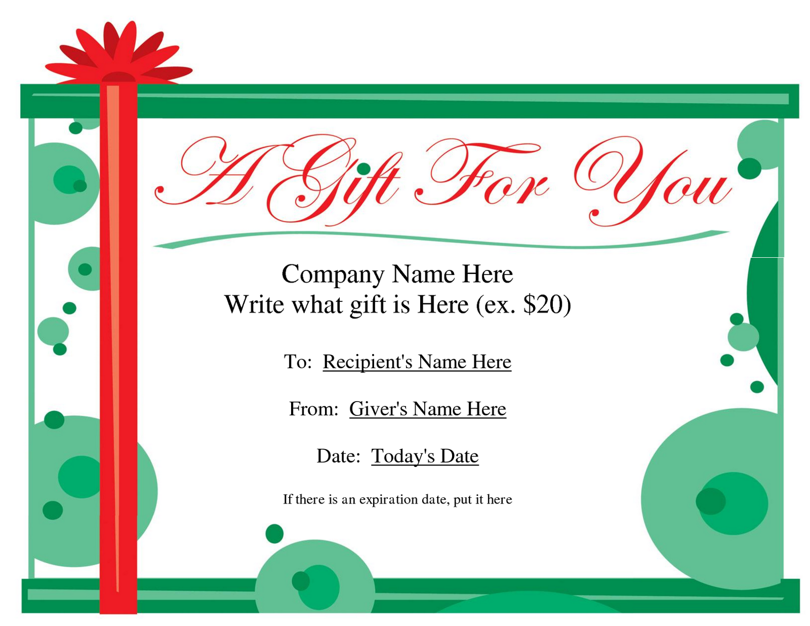 Blank printable gift certificate template for Downloadable gift certificate templates
