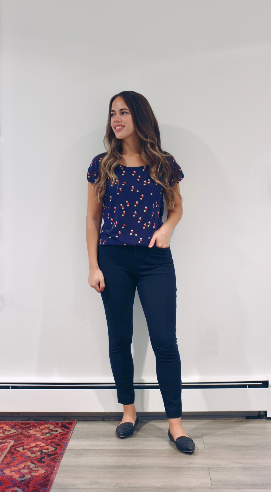 Jules in Flats -  Navy Dot Top (Business Casual Summer Workwear on a Budget)