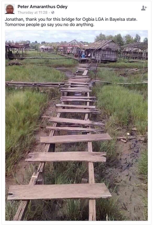Check out this bridge that GEJ allegedly constructed in his state Bayelsa