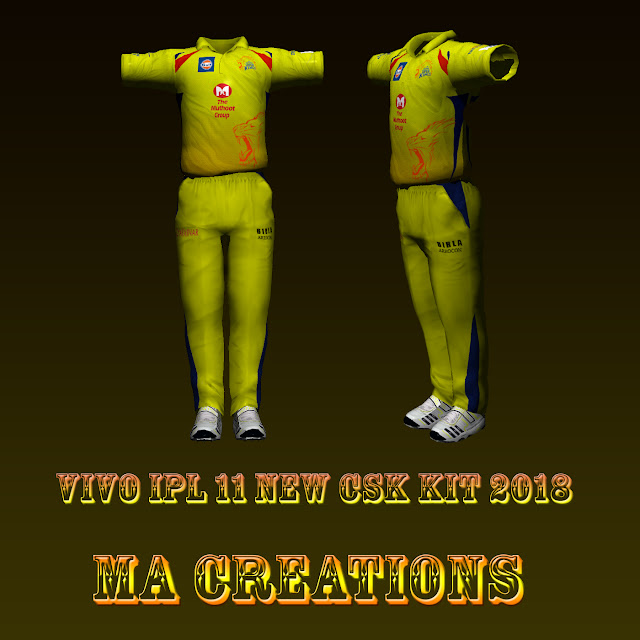 MA CREATIONS:VIVO IPL 11 CSK KIT 2018 NOW RELEASED