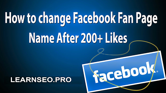 Change Fan Page Name