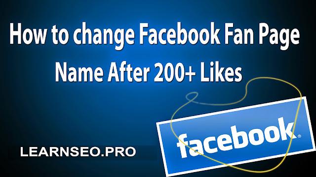 Change Fan Page Name