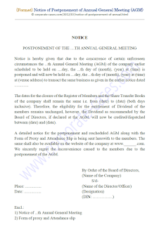 notice of postponement of annual general meeting