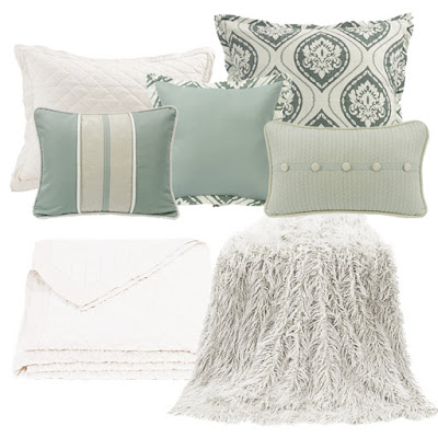 Belmont bedding pillows from HiEnd Accents, mongolian faux fur in white, vintage white diamond linen quilt and pillow sham