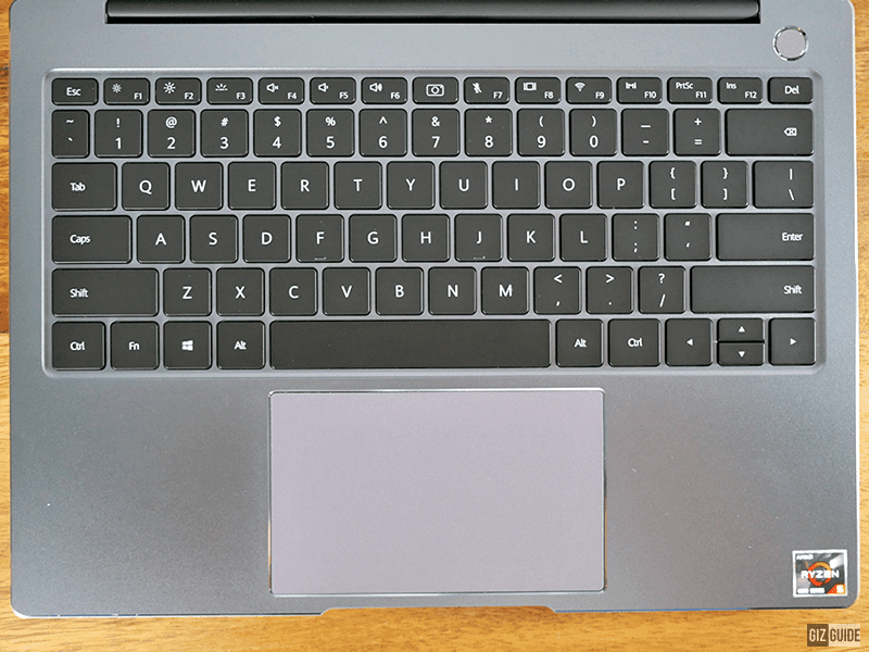 The keyboard and touchpad area