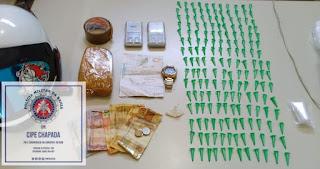 Cipe Chapada prende indivíduo com aproximadamente 01kg de cocaína em Ruy Barbosa