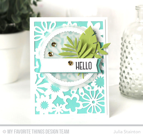 Floral Hello Card by Julia Stainton featuring the Lisa Johnson Designs Spring Wreath stamp set, and the Floral Fusion Cover-Up, Wild Greenery, Stitched Circle Scallop Frames, Blueprints 12, and Blueprints 20 Die-namics #mftstamps