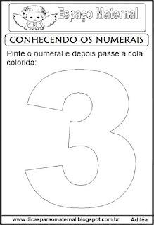 Numeral três para colorir