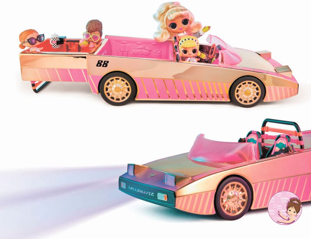 Pink MGA O.M.G. car coupe with pool, lights, sounds