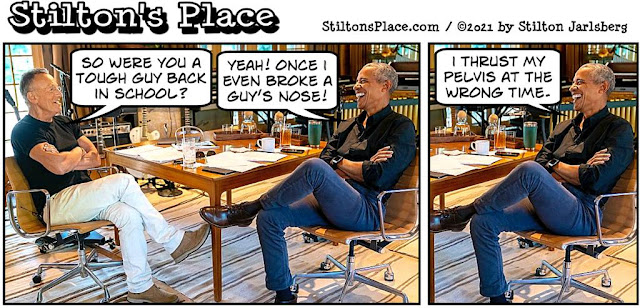 stilton's place, stilton, political, humor, conservative, cartoons, jokes, hope n' change, springsteen, obama, broken nose, podcast