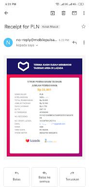 Bukti Pembayaran Tagihan PLN dengan Menggunakan Lazada Credit