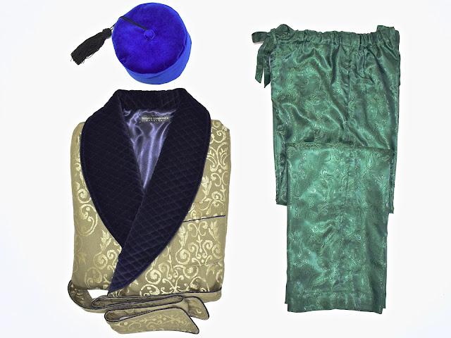 mens victorian dressing gown gentleman traditional vintage pajamas smoking cap smoker hat dandy