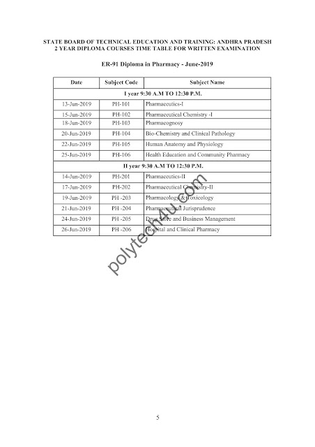 SBTETAP ER-91 PHARMACY TIMETABLE JUNE 2019 INSTANT CUM ADVANCE SUPPLY