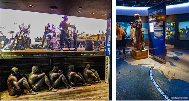 instalação no Museu Nacional dos Direitos Civis relembra o tráfico de escravos
