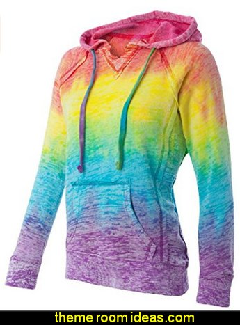 womens jumpers womens tops womens clothing  Womens Rainbow Stripe V-Neck Burnout Hoodies
