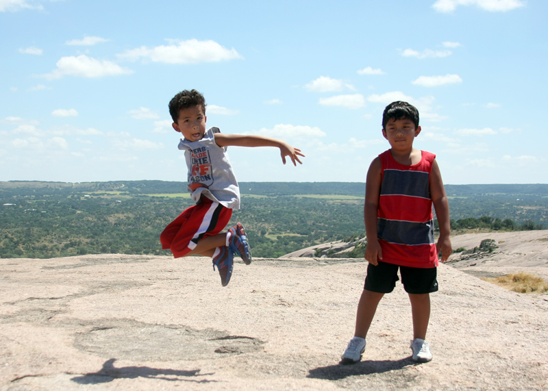 Jumping on the top of Enchanted Rock