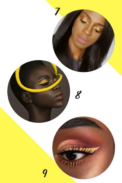 Montagem maquiagem amarela na pele negra: 7-Beauty Frenzy/ 8- Mike Ruiz/ 9- Ivy Kungu
