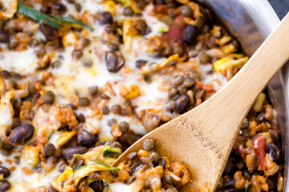 CHEESY LENTILS, BLACK BEANS AND RICE