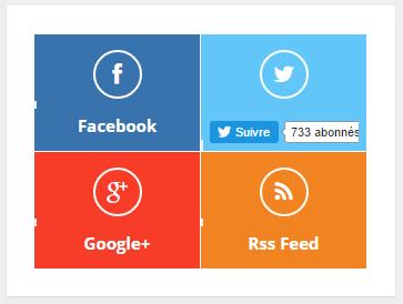 Bouton de suivi dynamique pour Twitter, facebook, Google+, rss...
