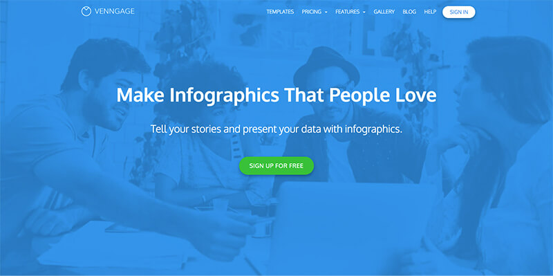 Venngage is a popular option that helps anyone visualize and share their data in a beautiful way.
