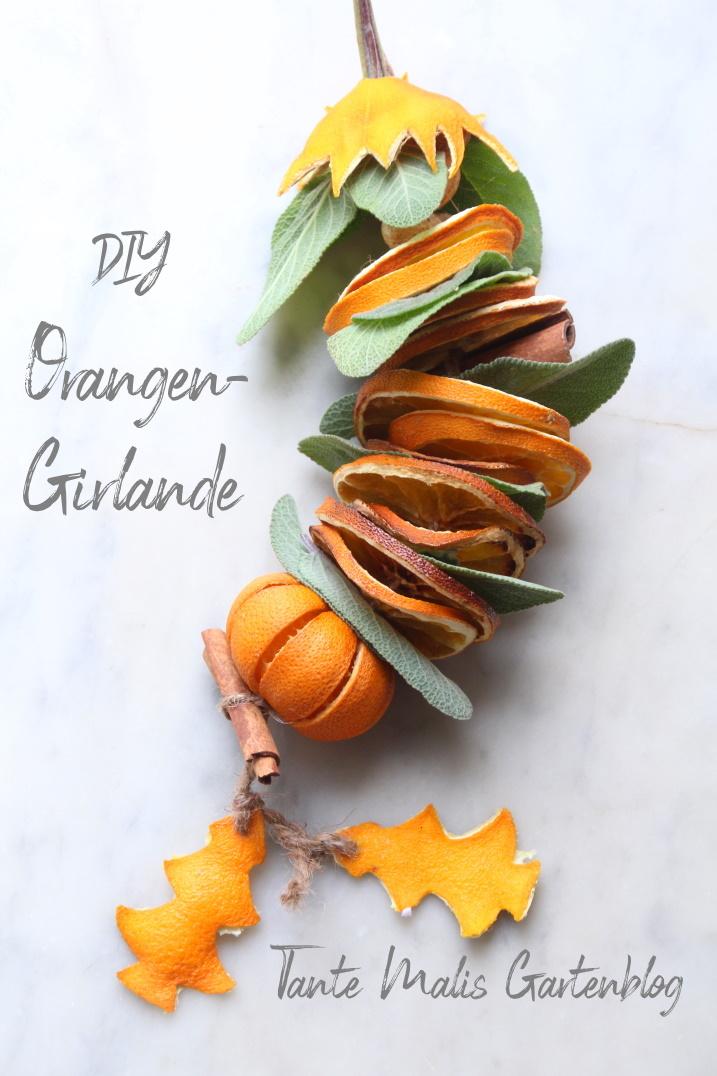 Selbstgemachte Weihnachtsgirlande aus Orangen