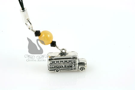 Yellow School Bus Gemstone Bead Charm Pull (CPC013)