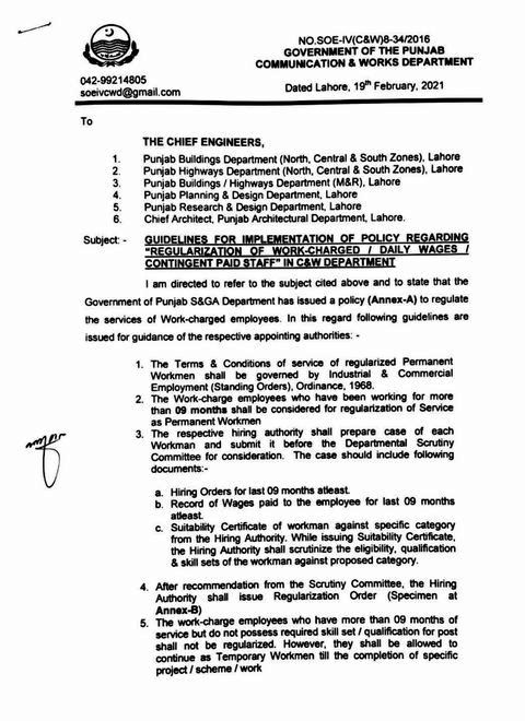 GUIDELINES FOR IMPLEMENTATION OF POLICY REGARDING REGULARIZATION OF WORK CHARGE, DAILY WAGER AND CONTINGENT PAID STAFF IN COMMUNICATION & WORKS DEPARTMENT