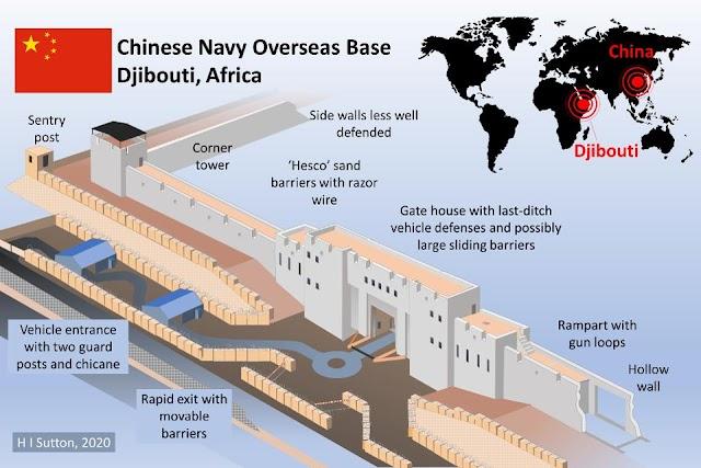 السور الصيني حول القاعدة العسكرية في الجيبوتي