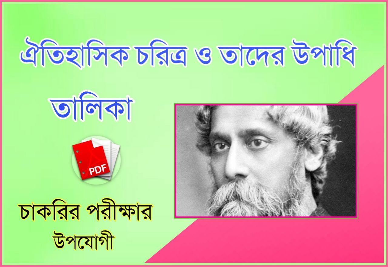 ঐতিহাসিক চরিত্র ও তাদের উপাধি PDF - The Title of Famous Indian Historical Personalities PDF in Bengali