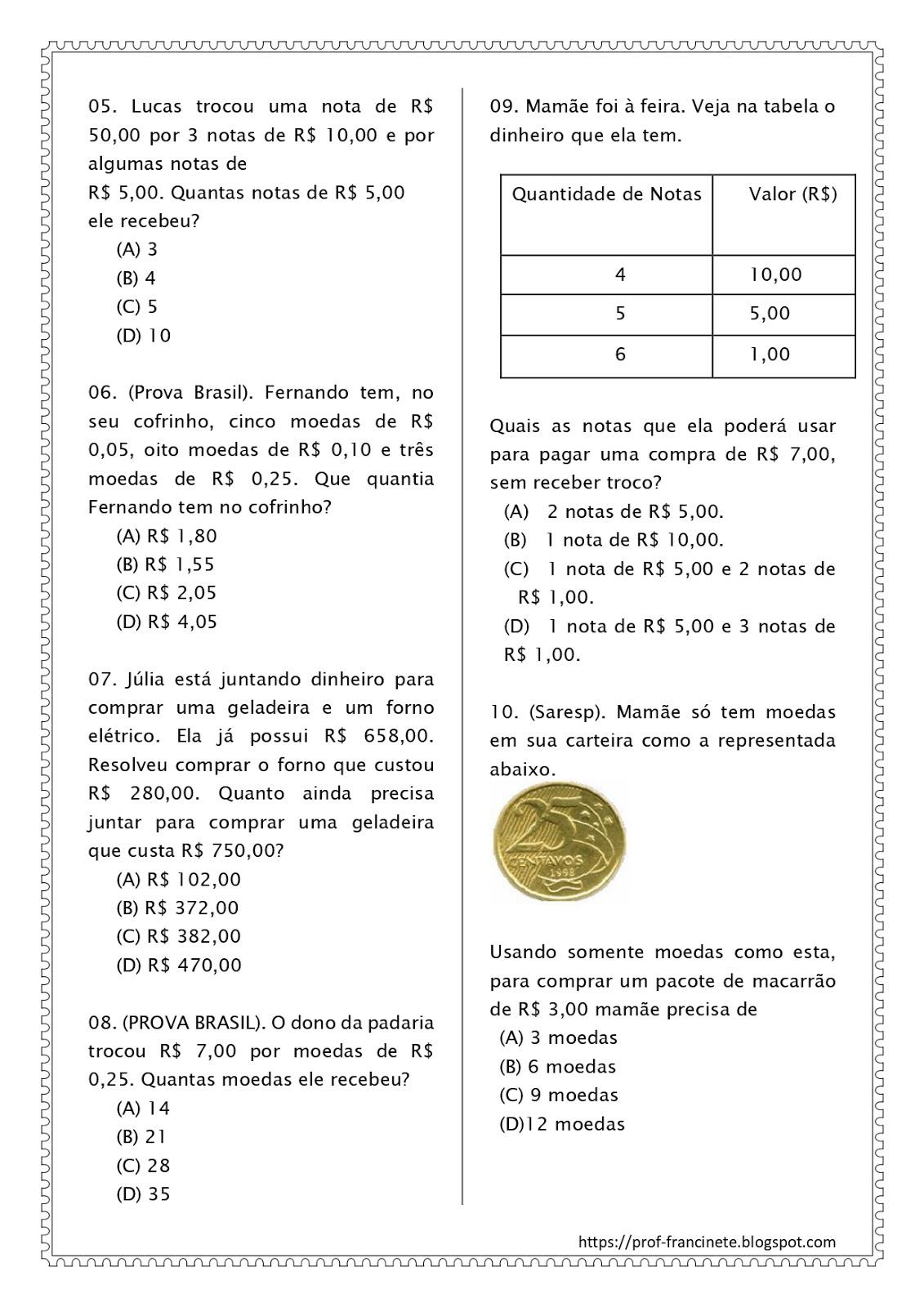 Prof Francinete Gomes Simulado De Matematica 4º E 5º Ano Descritor 10