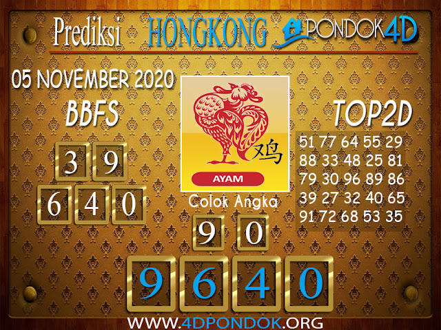 Prediksi Togel HONGKONG PONDOK4D 05 NOVEMBER 2020