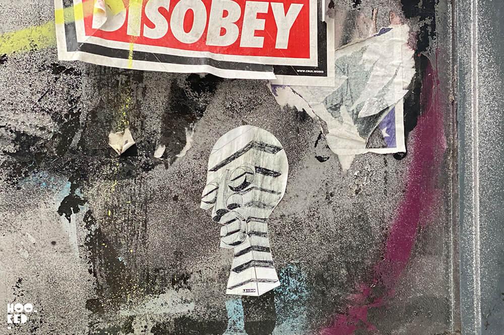 England - London street art stickers featuring the work of artist LdashD