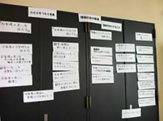 会議室の壁を使ったブレーストーミングの様子の写真