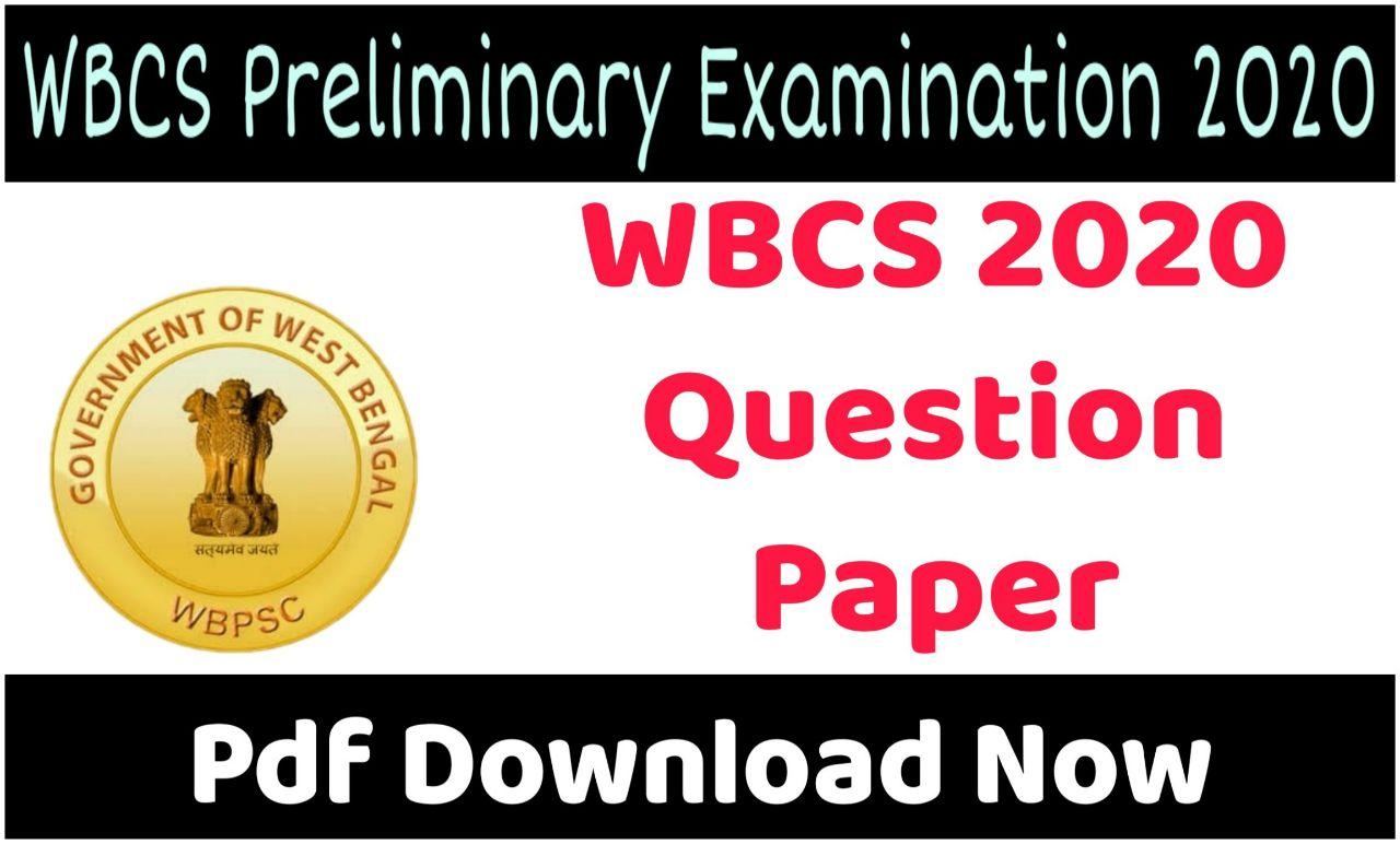 WBCS 2020 Preliminary Question Paper
