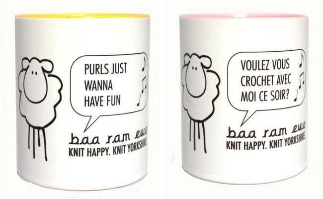 Gift guide for yarn lovers: mugs for croheters and knitters (photo by: Baa Ram Ewe) | Happy in Red