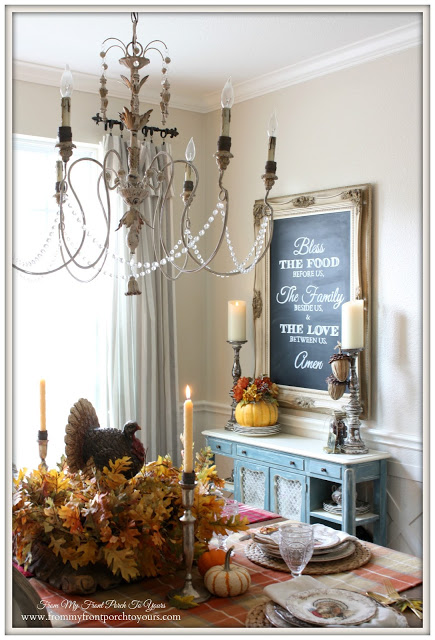 French Country Dining Room-DIY Chalk Board-Fall Dining Room-Thanksgiving-From My Front Porch To Yours
