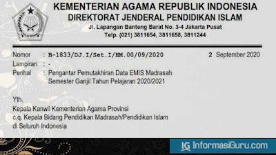 Surat Edaran/SE Nomor B-1833/DJ.I/Set.I/HM.00/09/2020 Tentang Pengantar Pemutakhiran Data EMIS Madrasah Semester 1 Tahun 2020/2021
