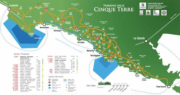 Cinque Terre en un dia que visitar mapa trekking