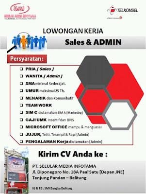 Sales dan admin Pt. Selular Media infotma-infobelitung