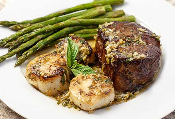 SCAMPI STYLE STEAK AND SCALLOPS