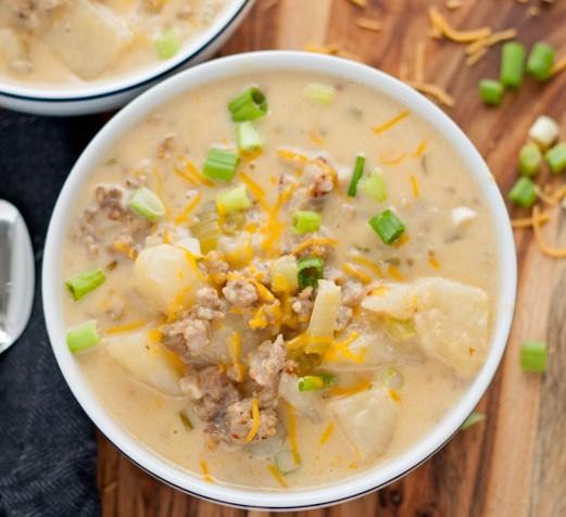 Cheesy Italian Sausage Potato Chowder #dinner #heartysoup