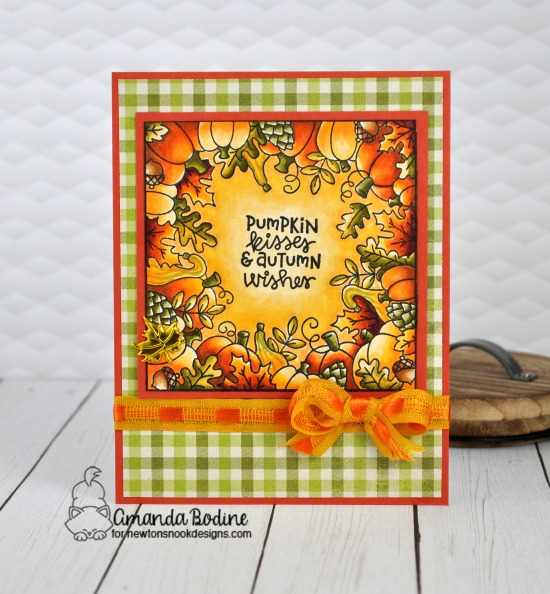 Pumpkin Kisses Fall Frame Card by Amanda Bodine | Fall Fringe Stamp Set by Newton's Nook Designs #newtonsnook #handmade