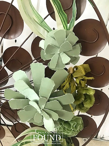 boho style, crafting, ribbon crafts, decorating, diy, diy decorating, home decor, decorating with succulents, faux succulents, summer decor, fall decor, trash to treasure, repurposing, paper crafts, tutorial, upcycling, reusing, faux plants