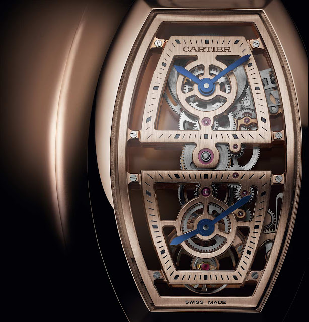 Cartier Privé Collection, Tonneau watches 2019. Skeleton dual time model in rose gold.