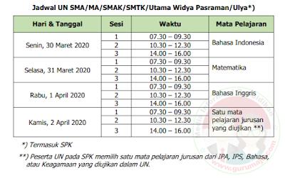 Jadwal UN UNBK SMA
