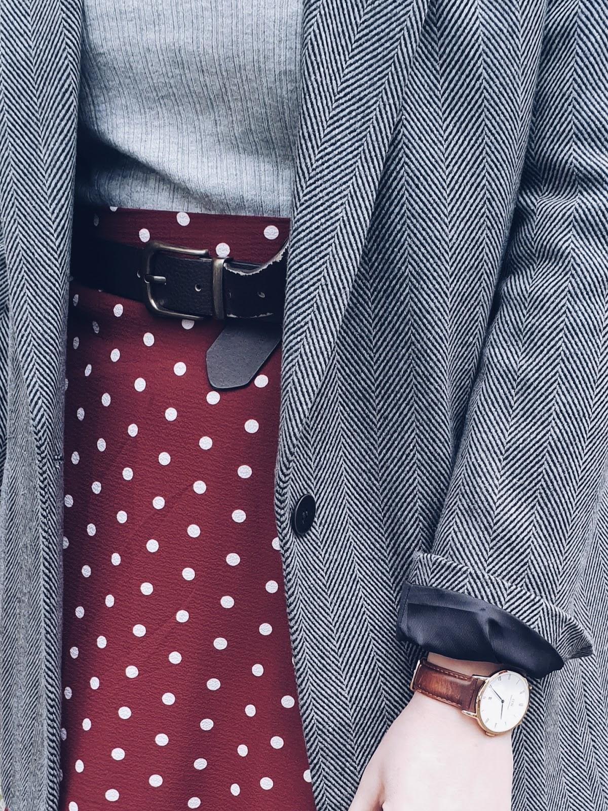 Herringbone jacket & maxi skirt czyli szarości i grochy