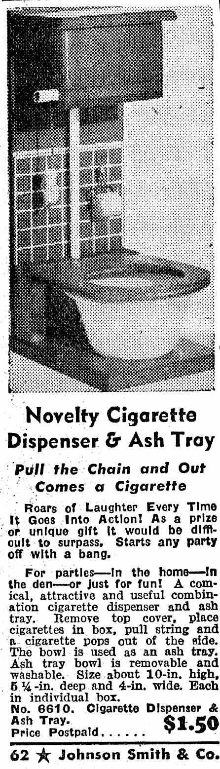 a 1955 novelty toilet ashtray advertisement