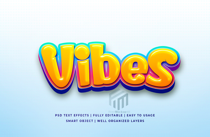 Vibes 3D Editable Text Style Effect Psd Template